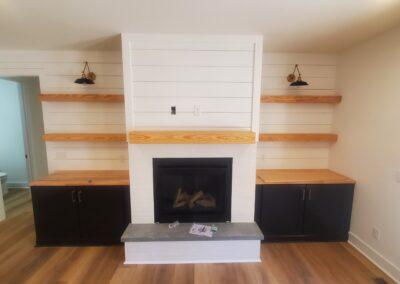 Kitchen Cabinets Raleigh Jameson Fine Cabinetry Fireplace Builtins Butcher Block Tops Custom Shelves Summerfield Midnight