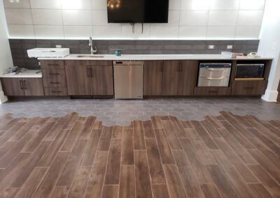 Kitchen Cabinets Raleigh Modern Contemporary Custom Breakroom Woodgrain Tile Hardware Quartz
