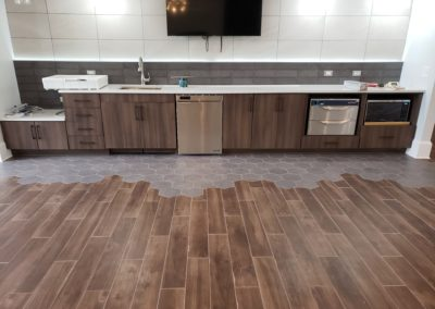 Kitchen Cabinets Raleigh Modern Contemporary Custom Breakroom Woodgrain Tile Hardware Quartz