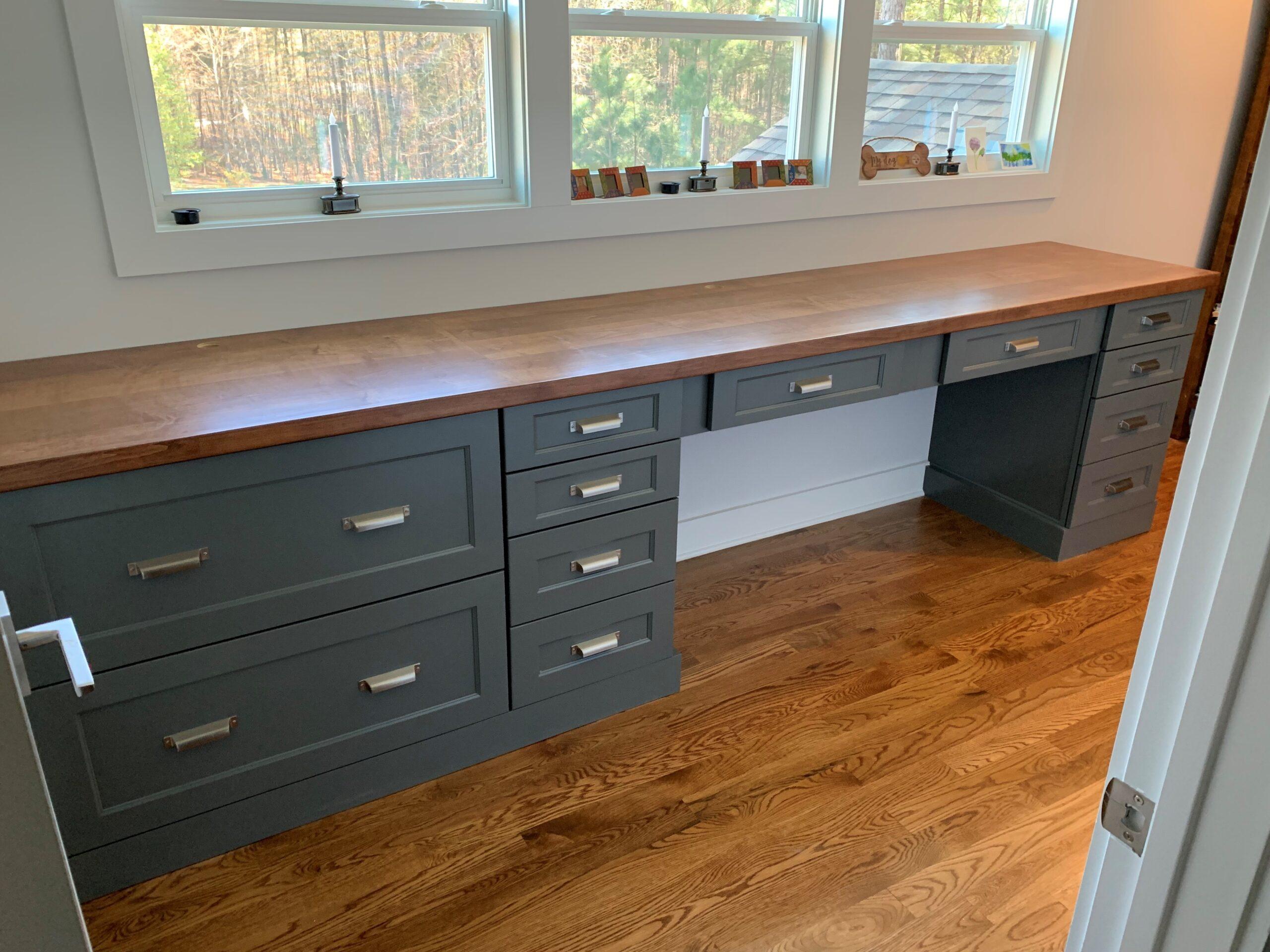 Kitchen Cabinets Raleigh Modern Custom Office Desk Hampton Greystone Paint Wood Top File Drawers