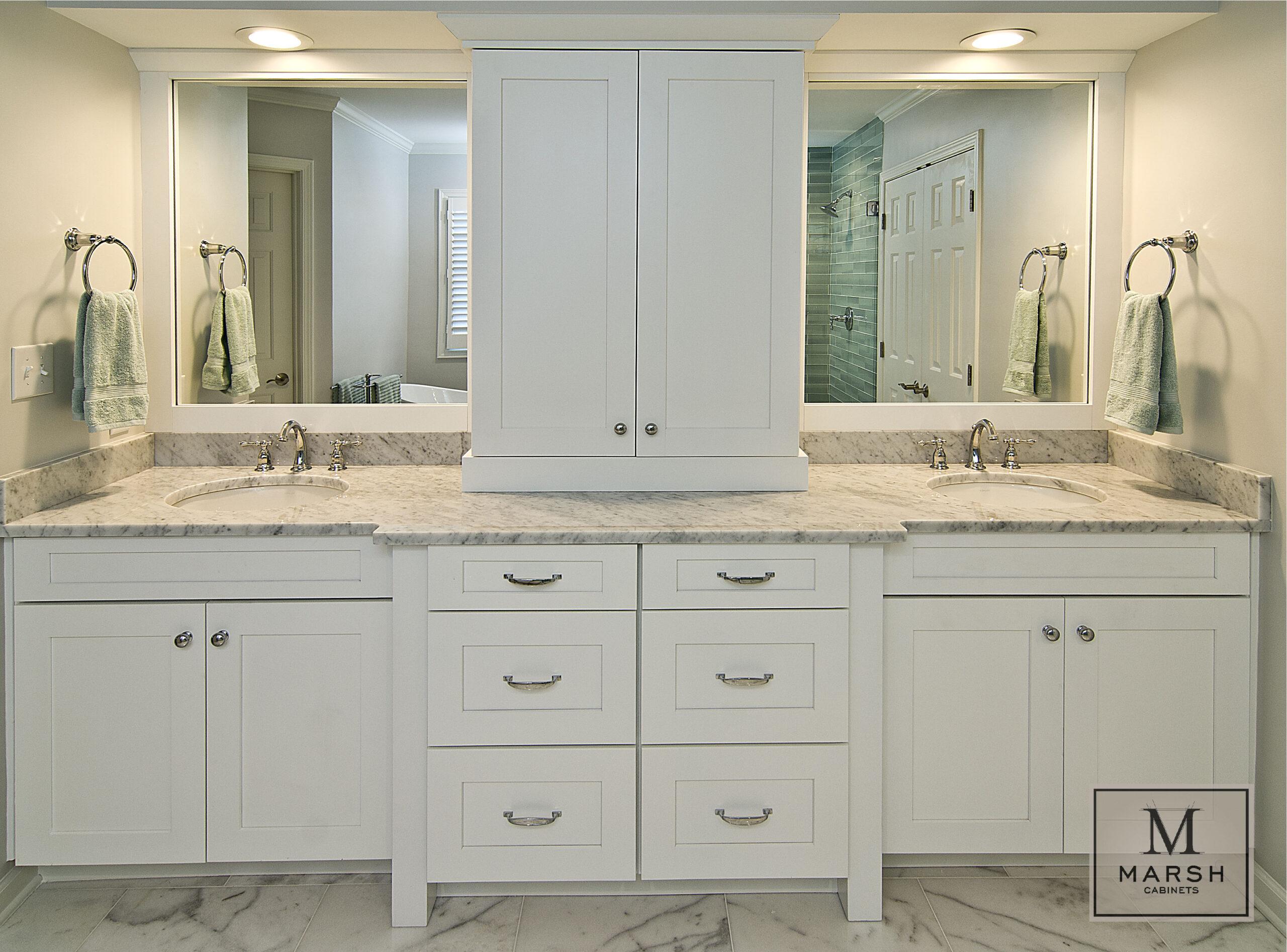 Kitchen Cabinets Raleigh Modern Summerfield Alpine White Paint Shaker Tower Mirrors Granite Vanity