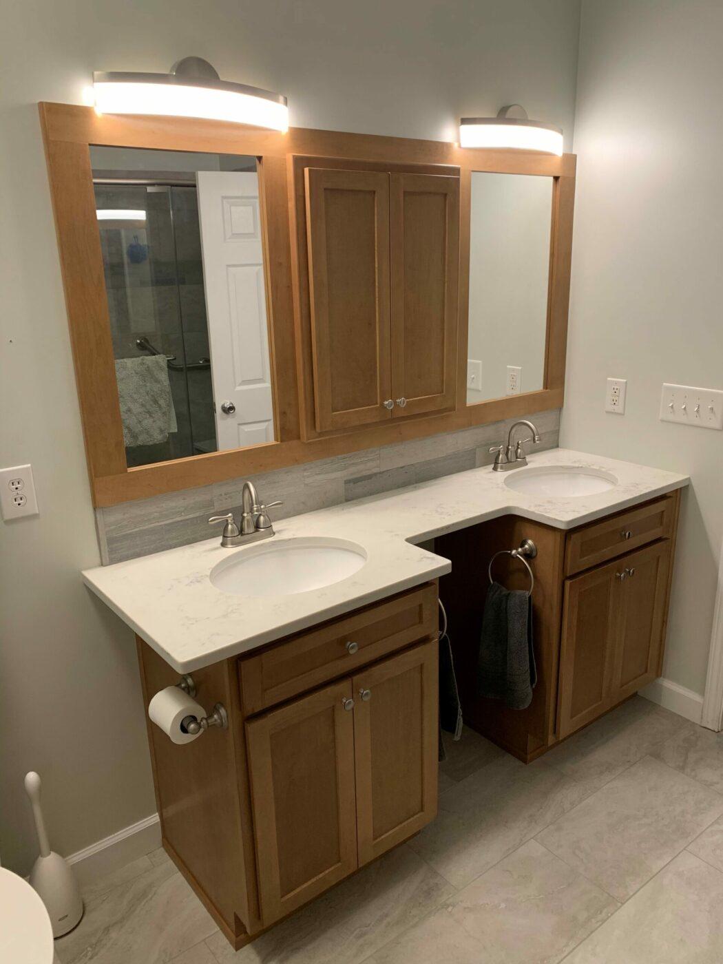 Kitchen Cabinets Raleigh Savannah Nutmeg Double Sink Quartz