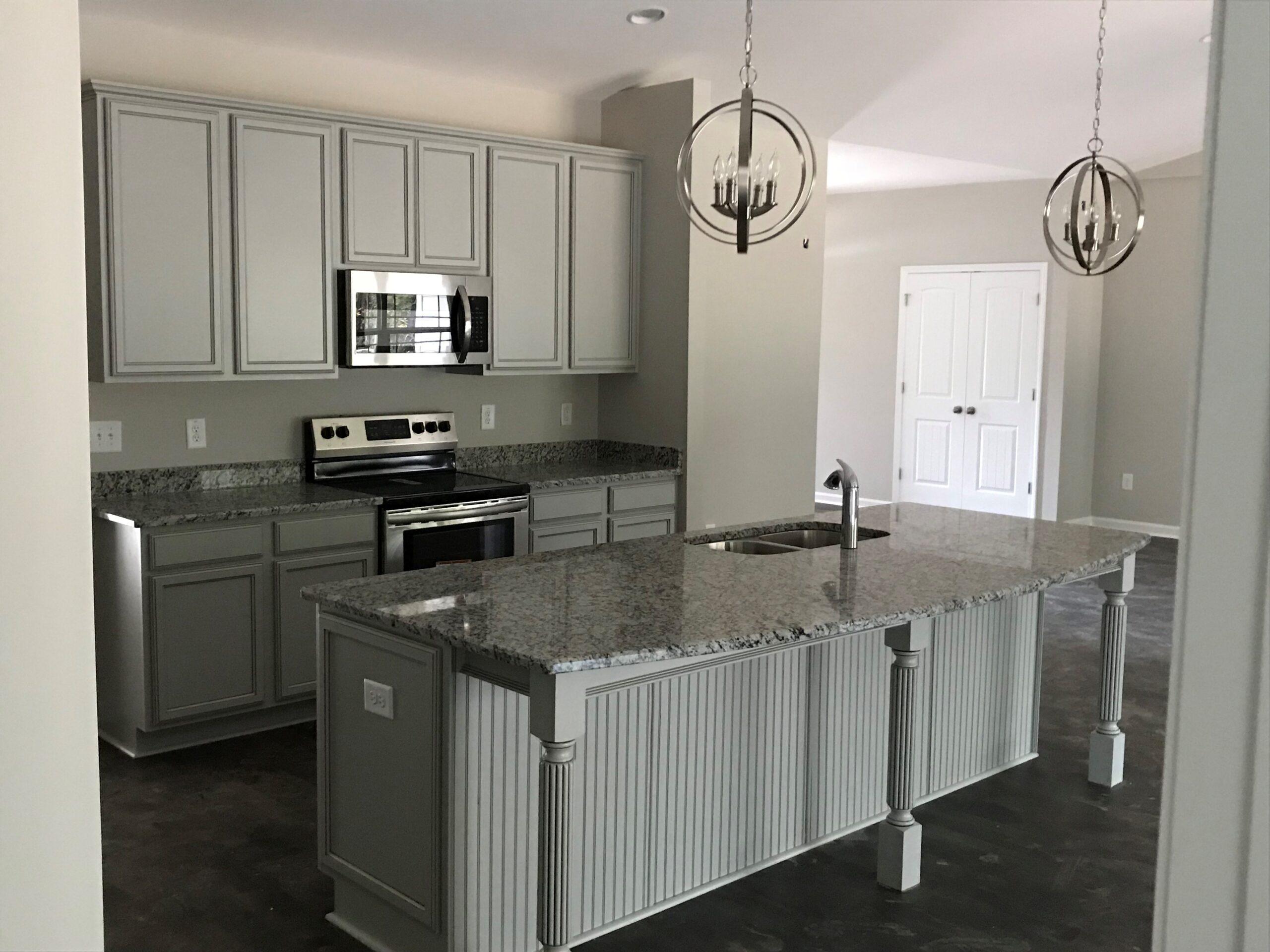 Kitchen Cabinets Raleigh Transitional Cambridge Greystone Grey Paint Island Beadboard Legs Granite