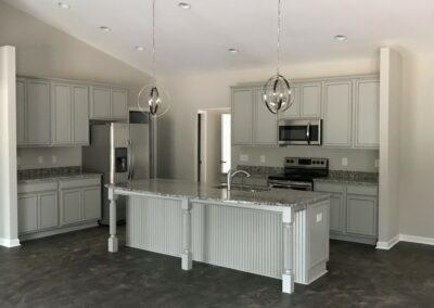 Kitchen Cabinets Raleigh Transitional Cambridge Greystone Grey Paint Island Legs Beadboard Granite