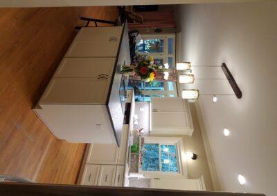 Kitchen Cabinets Raleigh Transitional Hampton Alpine White Paint Island Crown Quartz Hardware Tile