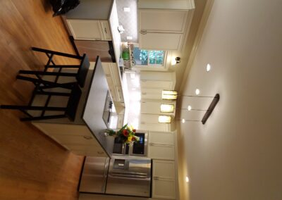 Kitchen Cabinets Raleigh Transitional Hampton Alpine White Paint Island Crown Quartz Tile Hardware