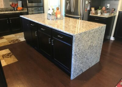 Kitchen Cabinets Raleigh Transitional Kent Birch Espresso Granite Waterfall Half Bullnose Edge