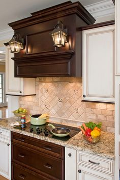 Kitchen Cabinets Raleigh Traditional Charleston Alpine Mocha Glaze Custom Hood Vent Espresso Hardware Granite