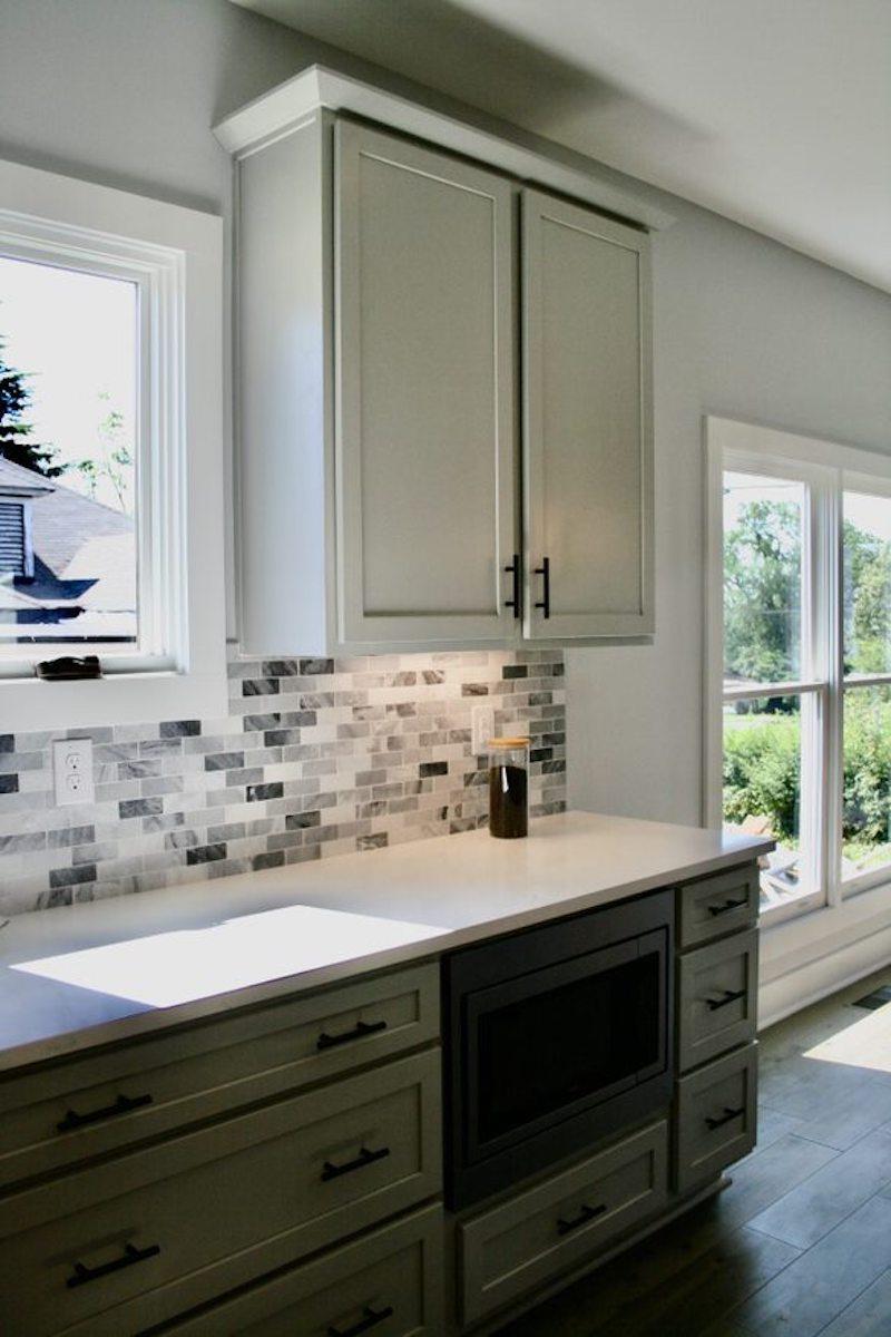 Kitchen Cabinets Raleigh Atlanta 1 Greystone Matte Black Hardware Tile Backsplash