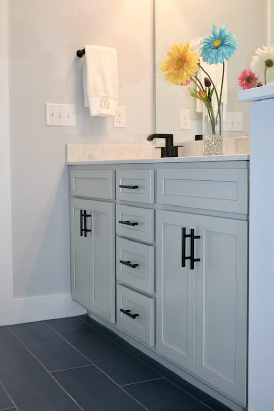 Kitchen Cabinets Raleigh Atlanta 1 Greystone Vanity Guest Bath Matte Black Hardware 1