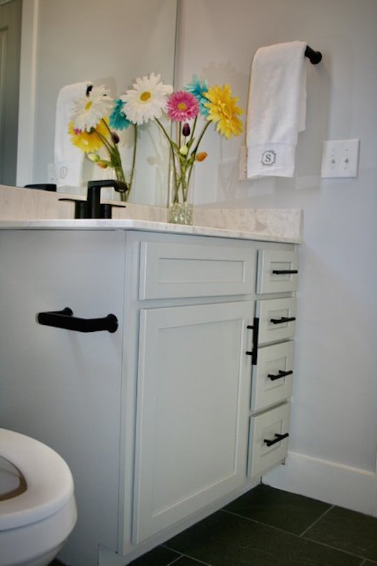 Kitchen Cabinets Raleigh Atlanta 1 Greystone Vanity Guest Bath Matte Black Hardware