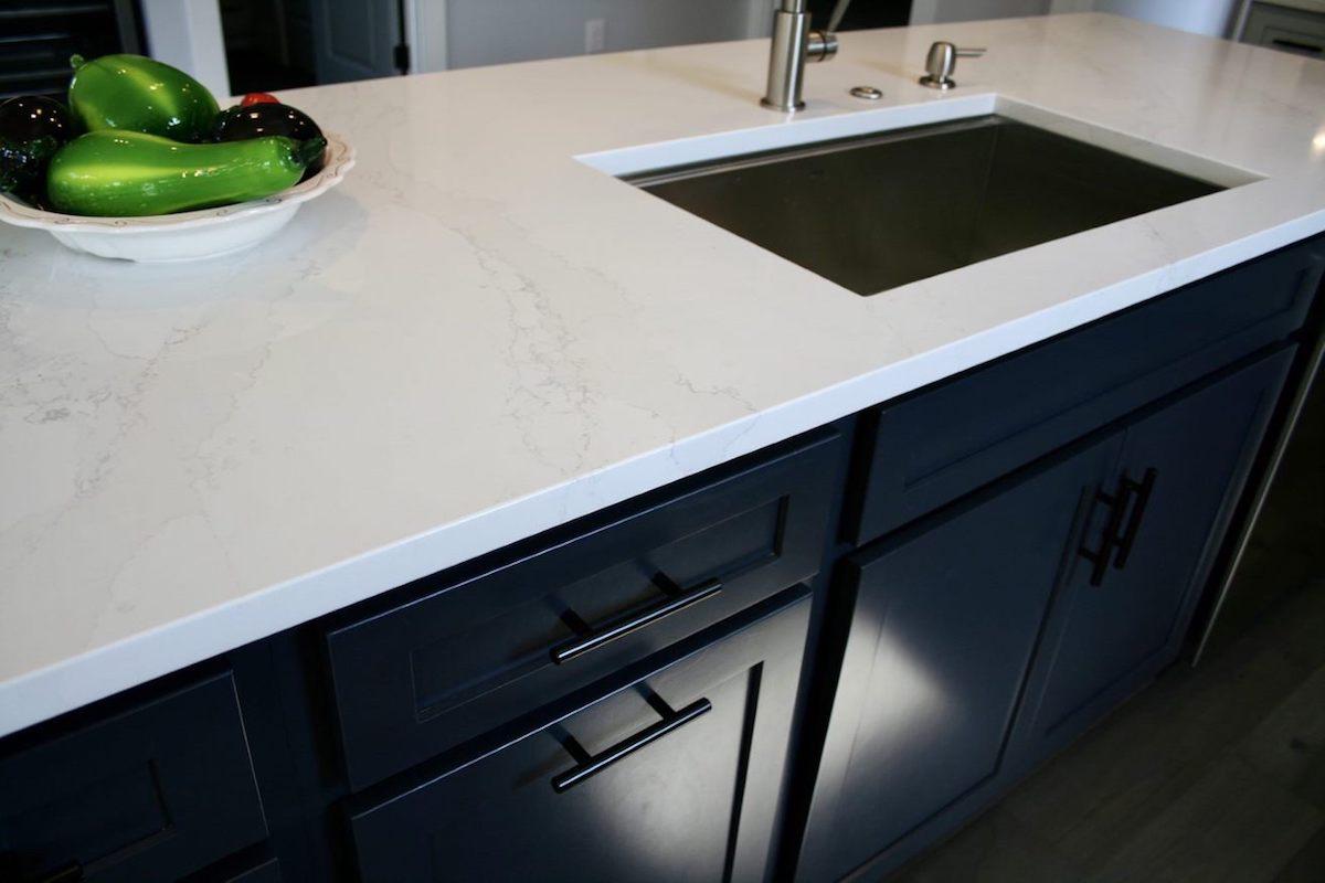 Kitchen Cabinets Raleigh Atlanta 1 Hatteras Blue Custom Island Quartz Countertops