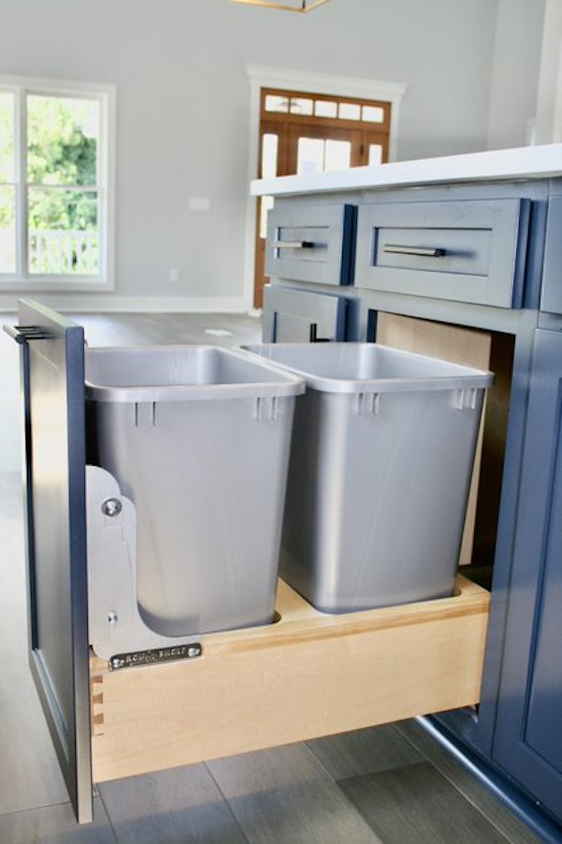 Kitchen Cabinets Raleigh Atlanta 1 Hatteras Blue Custom Island Trash Can Pullout