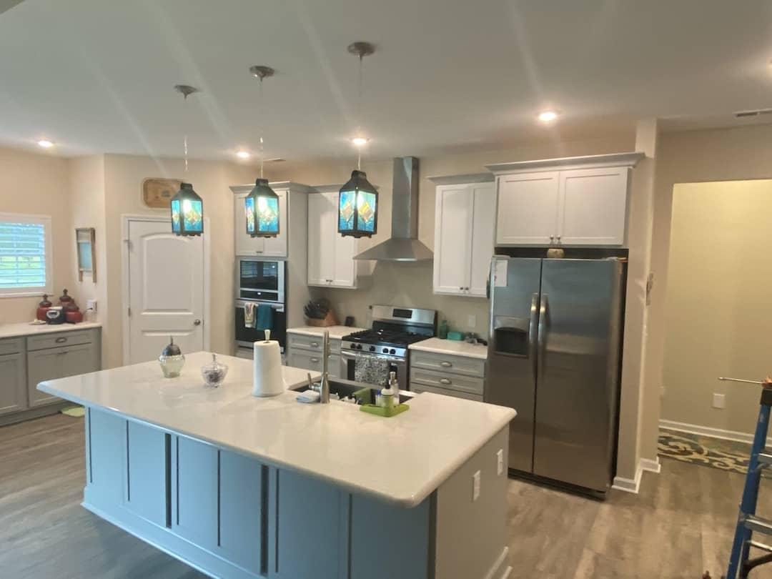 Kitchen Cabinets Raleigh Atlanta Alpine Greystone Quartz Island